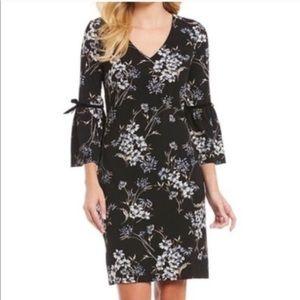 NWT Nordstrom Black Floral Bell Sleeve Midi Dress